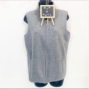 KAREN SCOTT Fleece Zip Up Vest Gray  Size XSMALL